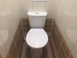 Отделка туалета плиткой и пластиковыми панелями
